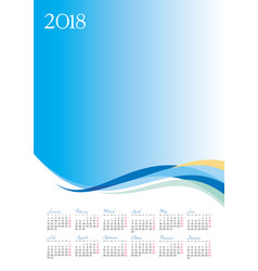 template of 2018 calendar on blue background vector image vector image