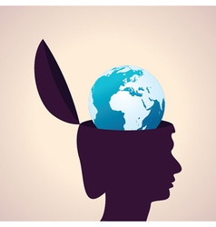 Thinking concept-Human head with earth icon vector image vector image