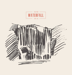 vintage of beautiful waterfall drawn vector image vector image