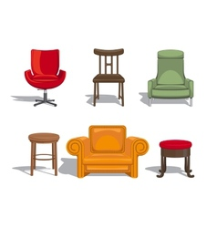 Chairs armchairs stools icons vector image