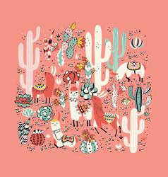 lama in cactus jungles card vector image vector image