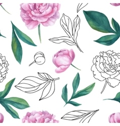 Seamless watercolor and graphic sketch vector image