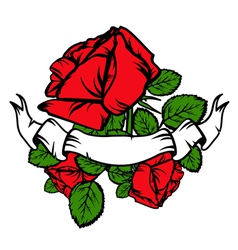 Vintage Red Roses and Old Banner vector image vector image