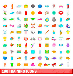 100 training icons set cartoon style vector