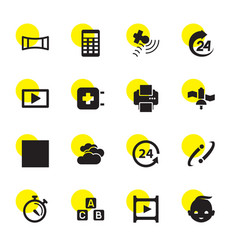 16 glossy icons vector image