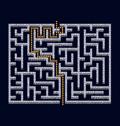 3d maze labyrinth with stone walls and solution vector