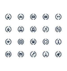 achievements icon set in glyph style vector image