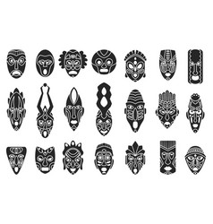 African mask black set icontribal mask vector
