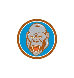 Angry gorilla head circle cartoon vector