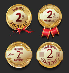 Anniversary retro golden labels collection 2 years vector