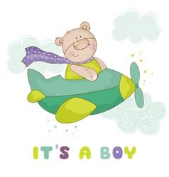 Baby bear on a plane - shower or arrival card vector