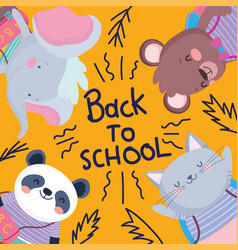 back to school cute animals education lettering vector image