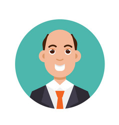 Bald-headed man character flat style vector