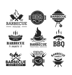 barbeque party black and white logo set vector image