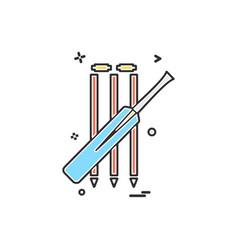 bat cricket wickets icon design vector image