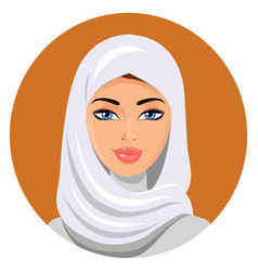 Beautiful muslim woman in white hijab vector