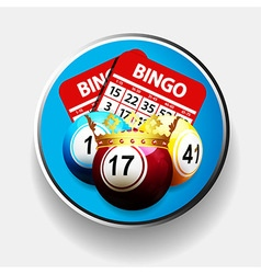 Bingo king and cards over metallic border vector image vector image