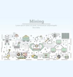 Bitcoin mining concept flat line art vector