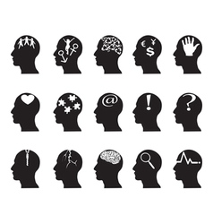 black profiles with idea symbols vector image