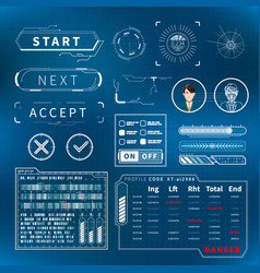 bright white futuristic user interface elements on vector image