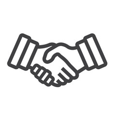 Business handshake line icon contract agreement vector