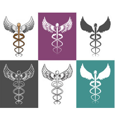 caduceus medical symbol set isolated vector image