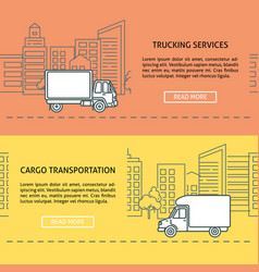 Cargo and delivery horizontal banner templates in vector