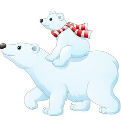 cartoon baby polar bear riding on her mothers bac vector image