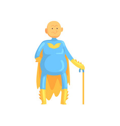cartoon bald and toothless old man character in vector image