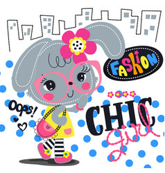 Cartoon beautiful rabbit girl with chic outfit vector