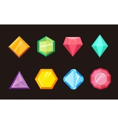 Cartoon gems jewels diamond brilliant set vector