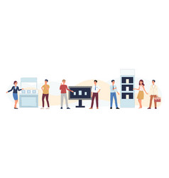 Cartoon people at exhibition fair - flat isolated vector