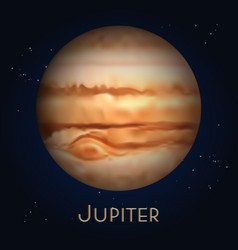 Cartoon realistic saturn planet in solar system vector