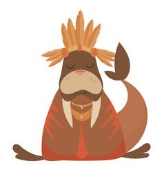Cartoon walrus indian vector