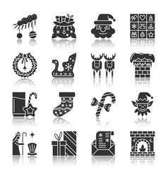 christmas new year silhouette icons with reflect vector image
