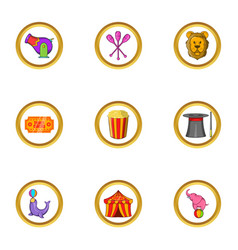 Circus festival icon set cartoon style vector