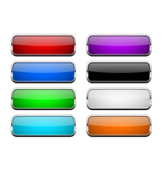 colored glass button shiny rectangle 3d web icons vector image