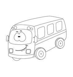 colorless funny cartoon bus vector image