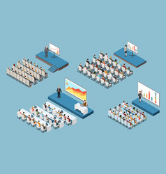 Conference hall isometric set vector