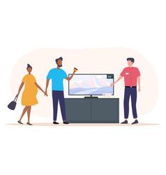 Couple buying flat screen tv vector