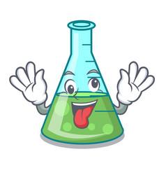 Crazy science beaker mascot cartoon vector