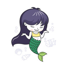 cute little mermaid with a fish and seashells vector image