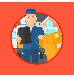 Delivery man with cardboard boxes vector