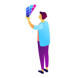 designer looking at color palette isometric 3d vector image