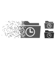 Dispersed pixel halftone temporary folder icon vector