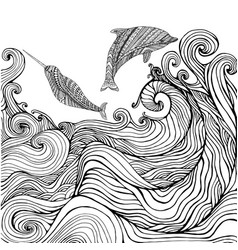 dolphin and narwhal and ocean waves coloring page vector image