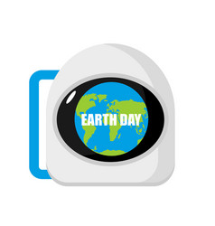 earth day helmet astronaut and planet reflected vector image
