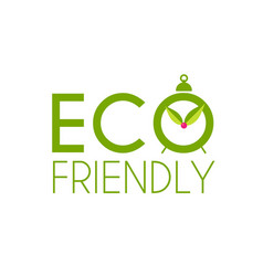 eco friendly badge design with leaves save nature vector image