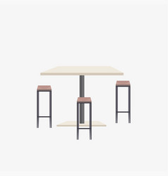 Empty no people cafe table with chairs modern vector