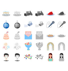 Event organisation cartoonmonochrom icons in set vector